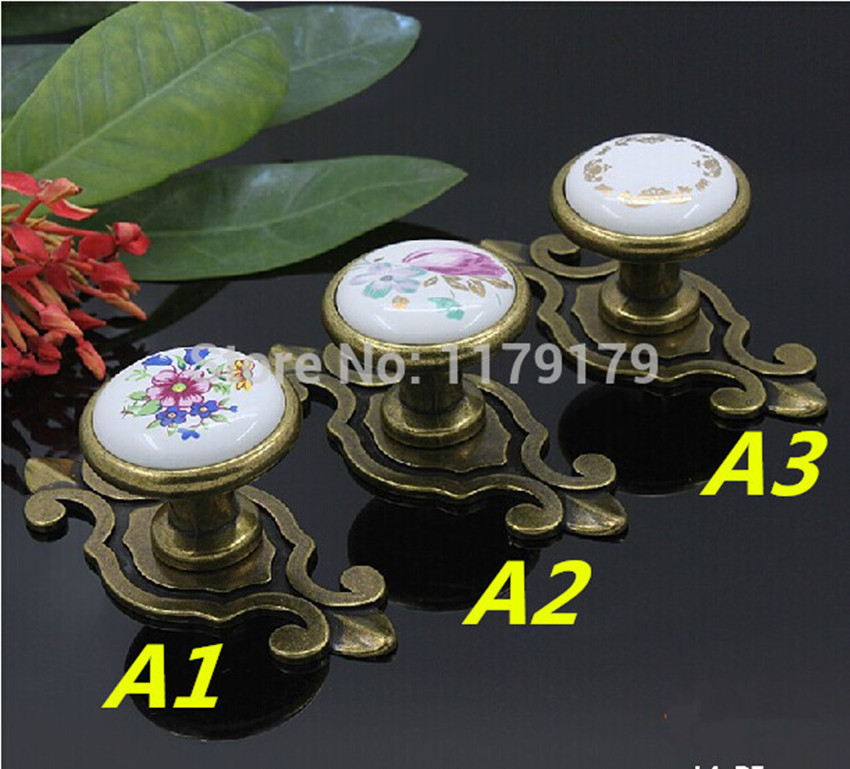 Village rural ceramic furniture handles bronze drawer cabinet knobs pulls antique brass dresser door handle backplate knob retro