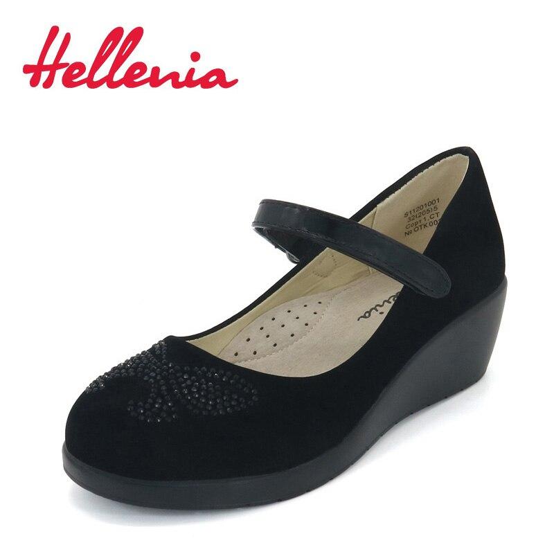 Hellenia School Student Shoes low heels platform buckle strap Children Shoes girls bowknot uniform PU Leather black size 32-36