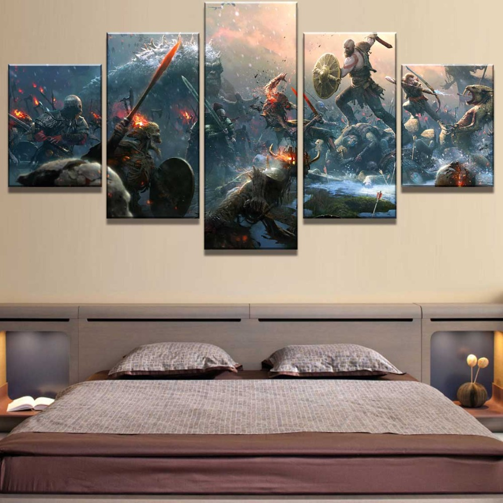 5 Piece HD Print Large God Of War Game Poster Cuadros Landscape Canvas Wall Art Home Decor For Living Room Canvas Painting