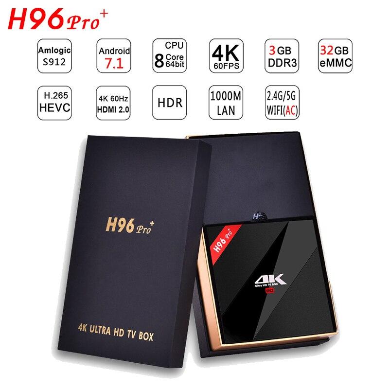 Newest H96 PRO+Android 7.1 TV Box Ram 3G/ROM32G Amlogic S912 64bit Octa Core H.265 4K Wifi 2.4G/5.8GH Bluetooth 4.0 Media Player
