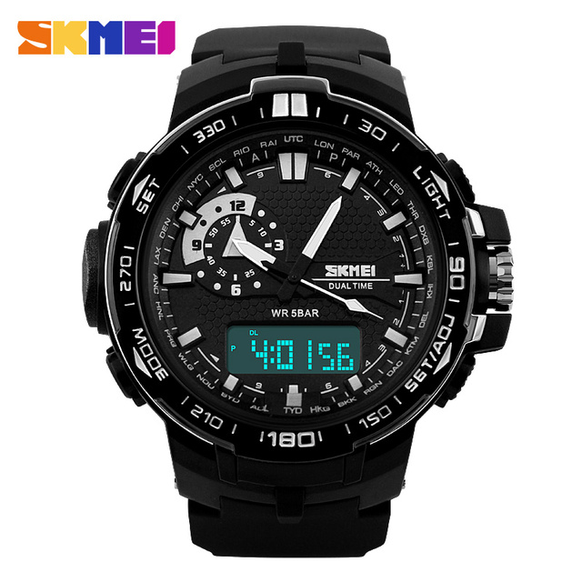 SKMEI Fashion Quartz-Watch Sports Watches Men Relogio Masculino 50m Waterproof Military Digital LED Dual Display Wristwatches