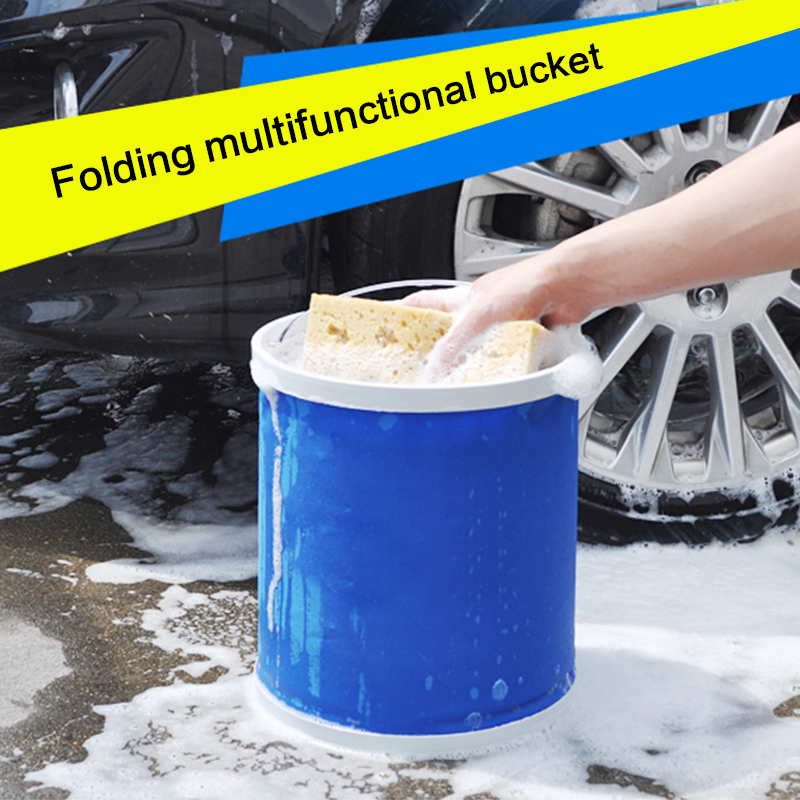9L Car Foldable Bucket Portable Collapsible Fishing Bucket Outdoor Hiking Camp Caravan Bucket Car Wash Clean Cloth Accessory