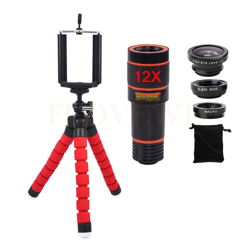 bilder für Telefon Lentes Kit 12X Tele Zoom Objektiv fischauge Weitwinkel Makro Kamera linsen für iphone 4 4 s 5 5 s 5c se 6 6 s 7 plus stativ