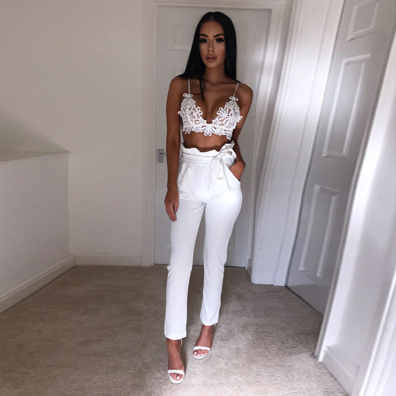 2017 Summer Women Bage Slim Straight Casual Pants Solid White Slim Bottoms High Waist Office Trousers