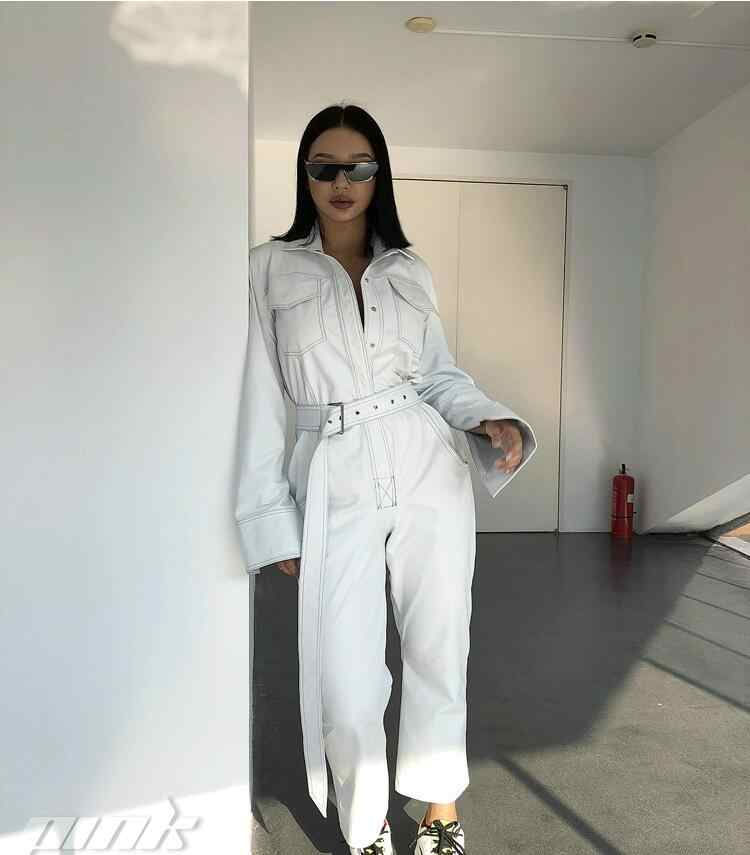 143ef678f79 ... Streetwear Sashes Rompers Women Long Sleeve Jumpsuit Combinaison Femme  Autumn White Black Ladies Casual Pockets Cargo ...