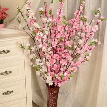 2019 Artificial Cherry Spring Plum Peach Blossom Branch Silk Flower Home Wedding Decorative Flowers Plastic Bouquet 65CM