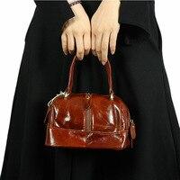 Vintage Famous Genuine Leather Tote Shoulder Bag Women Hand Bag Oil Wax Leather Grade Female Crossbody
