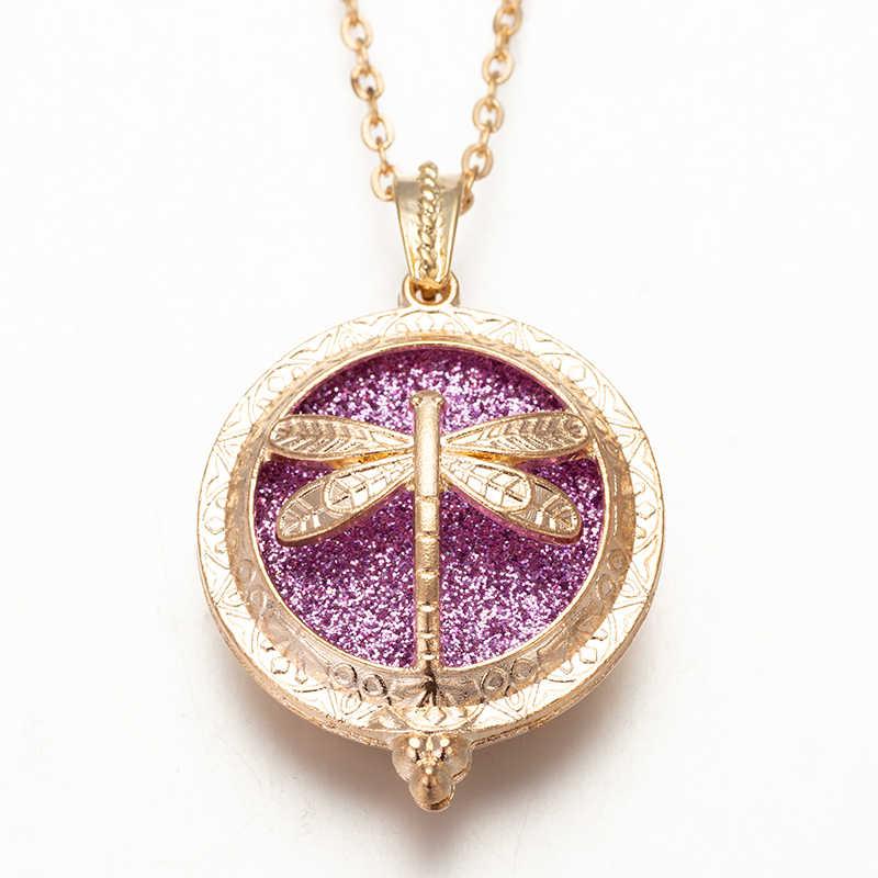 Golden Butterfly Aromatic Box Pendant  Charm Fashion Necklace Chain length 60cm Randomly Send 2 Felt Mat  HJ902-3