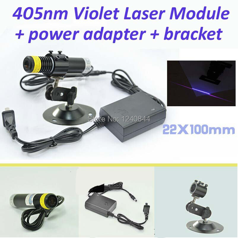 100mw 405nm line violet blue laser module with power adapter and bracket 22x100mm