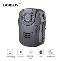 BOBLOV PD50 Body Worn Camera 64GB HD 1296P IR Night Vision Quick Charge Security Video Recorder Pocket Camera For Police DVR
