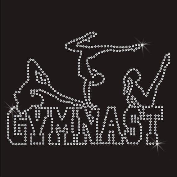 2pc/lot Gymnast rhinestones motif hot fix rhinestone applique hot fix rhinestone transfe ...