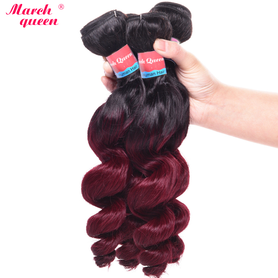 Peruvian Hair Weave Bundles T1B/99J Ombre Loose Wave Hair 4 Bundles 100% Human Hair Extensions Peruvian Loose Curly Hair Weft