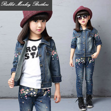 Spring fall Style Girls flower kids clothes set Denim jacket + Jean pant 2 piece set For Kids Wear to 2 four 6 eight 10 12 Year