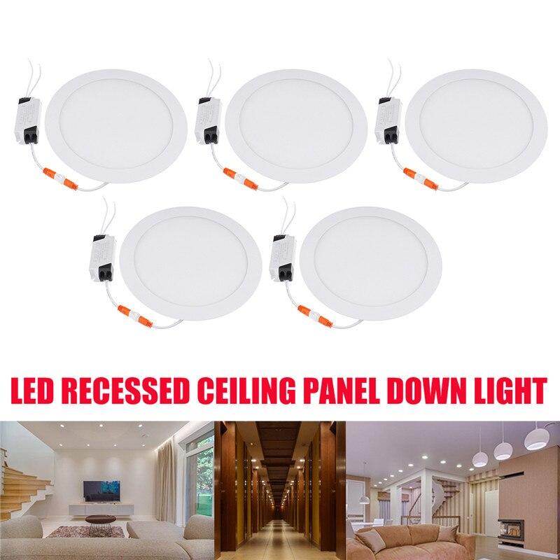 5 pièces Ultra mince LED vers le bas lampe 21 W LED éclairage 2100LM encastré grille downlight mince panneau rond lumière blanc froid
