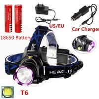 Hot Sale XML T6 LED Headlamp Headlight 2500 Lumen Frontal Led Rechargeable 18650 Head Lamp Light