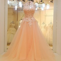 Cheap formal party dresses high neck A line sleeveless floor length sexy backless beaded tulle evening gown pink