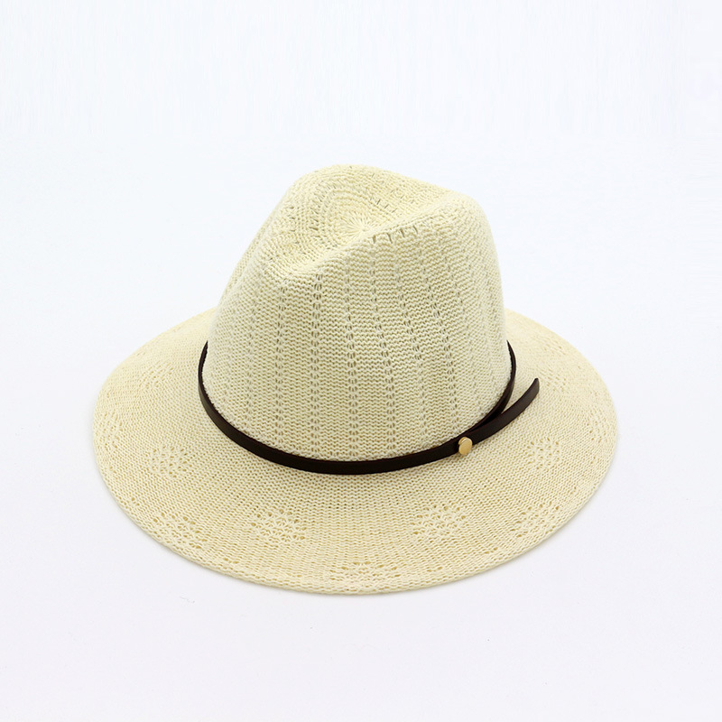 British Style Summer Women Cotton Knitting Jazz Panama Hat Flat Brim  Breathable Fedoras Wide Brim Beach Hat Party Formal Hats-in Fedoras from  Apparel ... 3d40ce196dd