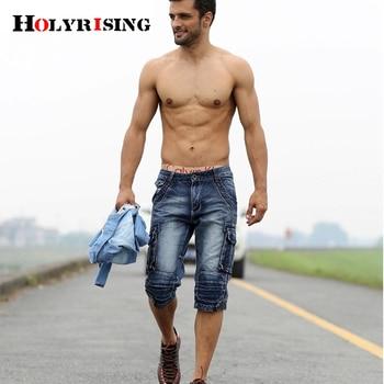 men cargo shorts bermuda homme male fashion shorts Washed denim short men jeans shorts homme 4