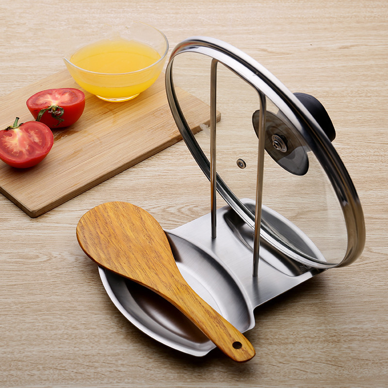 Stainless Steel Pan Pot Rack Cover Lid Rest Stand Spoon Holder Kitchen Accessories Tools Hot Sale