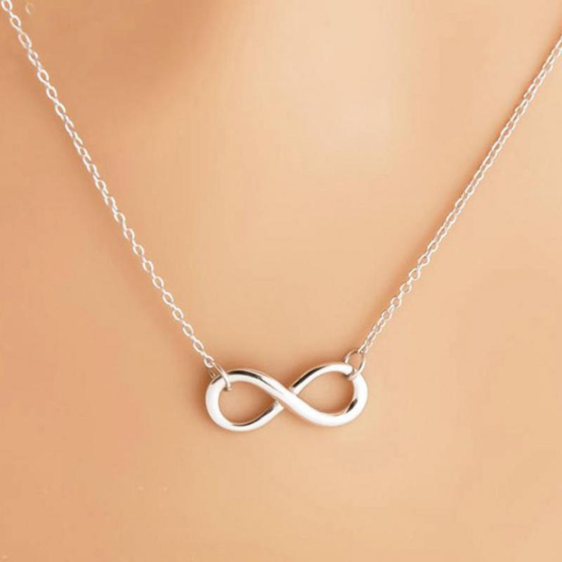 Simple Design Necklace For Women Silver Infinity Figure 8 Necklace Pendant Hammered Link Necklaces Collier Gift Jewelry Bijoux 1