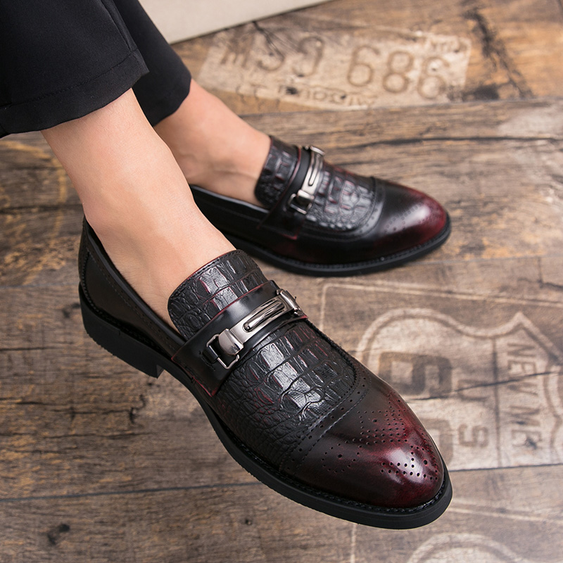 Misalwa New Fashion Red Crocodile Leather Shoes Men Black Wedding Party  Moccasins Two Ways Dress Loafers Male Italian Driving