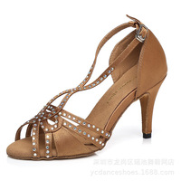 Latin Dance Shoes Women Satin and Rhinestone Heel 7.5/8.5cm Ballroom Dancing Shoes Suitable for Tango,Chacha Wedding Party A202