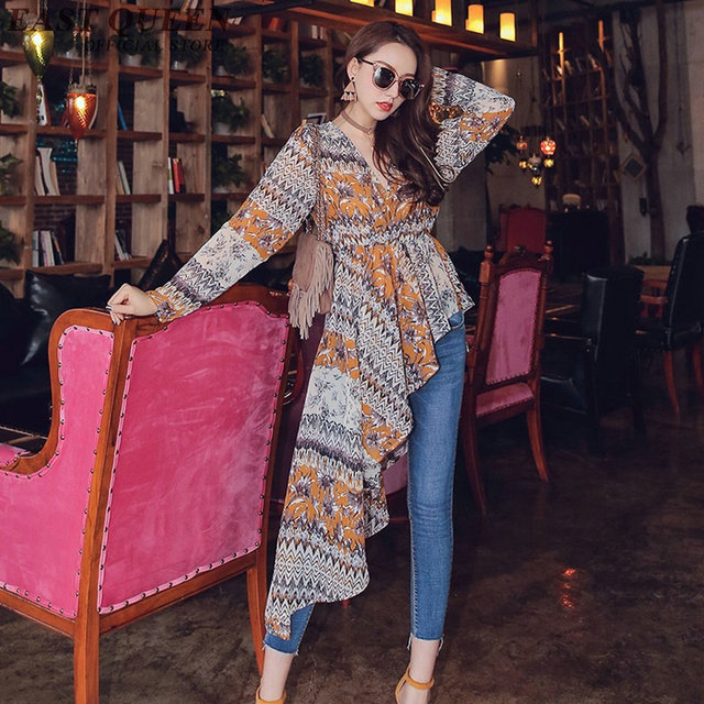 Long tunic tops for women summer style women's long sleeve tunic boho  clothing mexican embroidered blouse