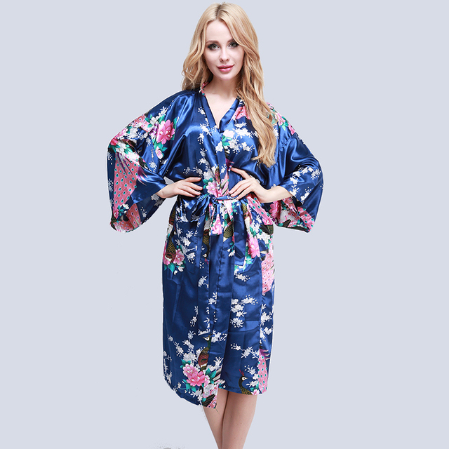9914460086 New Women Satin Long Wedding Robe Floral Peacock Printed Bathrobe Kimono  Robe Oversize Size Dressing Gown Japanese kimono style