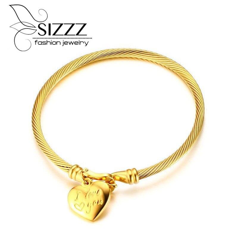 Sizzz 5.8 см Диаметр витой Нержавеющаясталь золочения Я тебя люблю сердце узор браслет для Для женщин/девочек