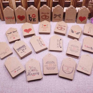 DIY 100pcs 3x5cm love tag handmade new paper card present Kraft or white paper thank you gift tags hand made with love tag