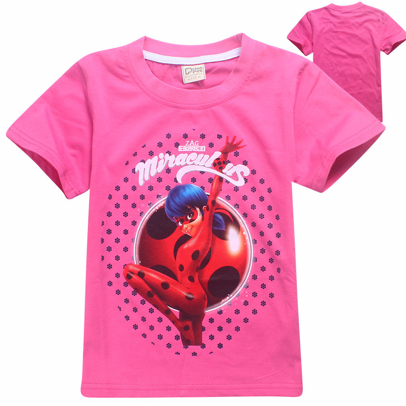 Child Ladybug Miraculous Trolls T-shirt For Girls Tees Summer Short Sleeves Boys Tops Teen moana Clothes Kids lady bug T Shirts santa dxman short sleeves t shirt for men