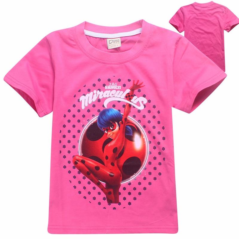 Enfant Coccinelle Miraculeuse Trolls T-shirt Pour Filles T-shirts D'été Court manches Garçons Tops Adolescent moana Vêtements Enfants lady bug T chemises