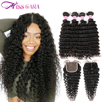 Malaysian Deep Wave Bundles With Closure 100 Human Hair 3 4 Bundles With Closure Miss Cara
