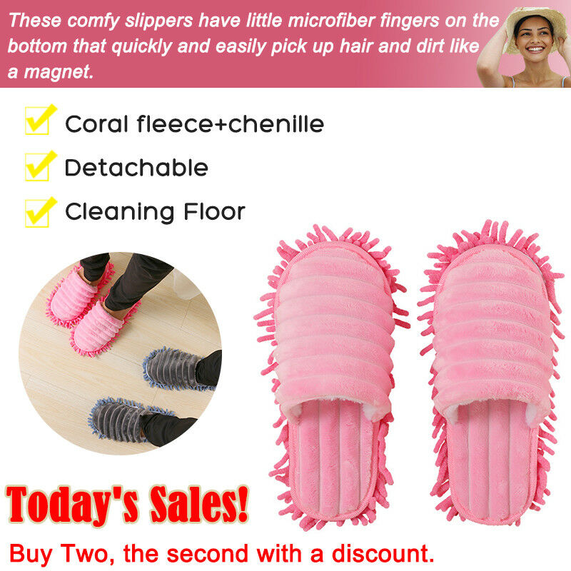 1 Pair Dust Mops Slipper Lazy House Floor Polishing Cleaning Easy Foot Sock Shoe Cover Mop Slippers