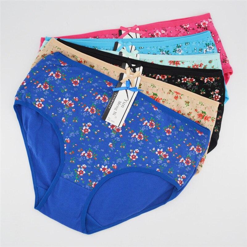 Floral Print Big Size   Panties   Women Sexy Fashion Cotton Briefs High Waist Underwear for Girls Plus Size 2xl 3xl 4xl 6pcs/lot