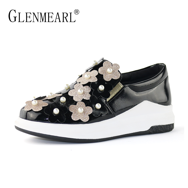 Platform Women Loafers Flats Shoes Woman Brand Black Flower Thick Heels Women Sneakers Plus Size Female