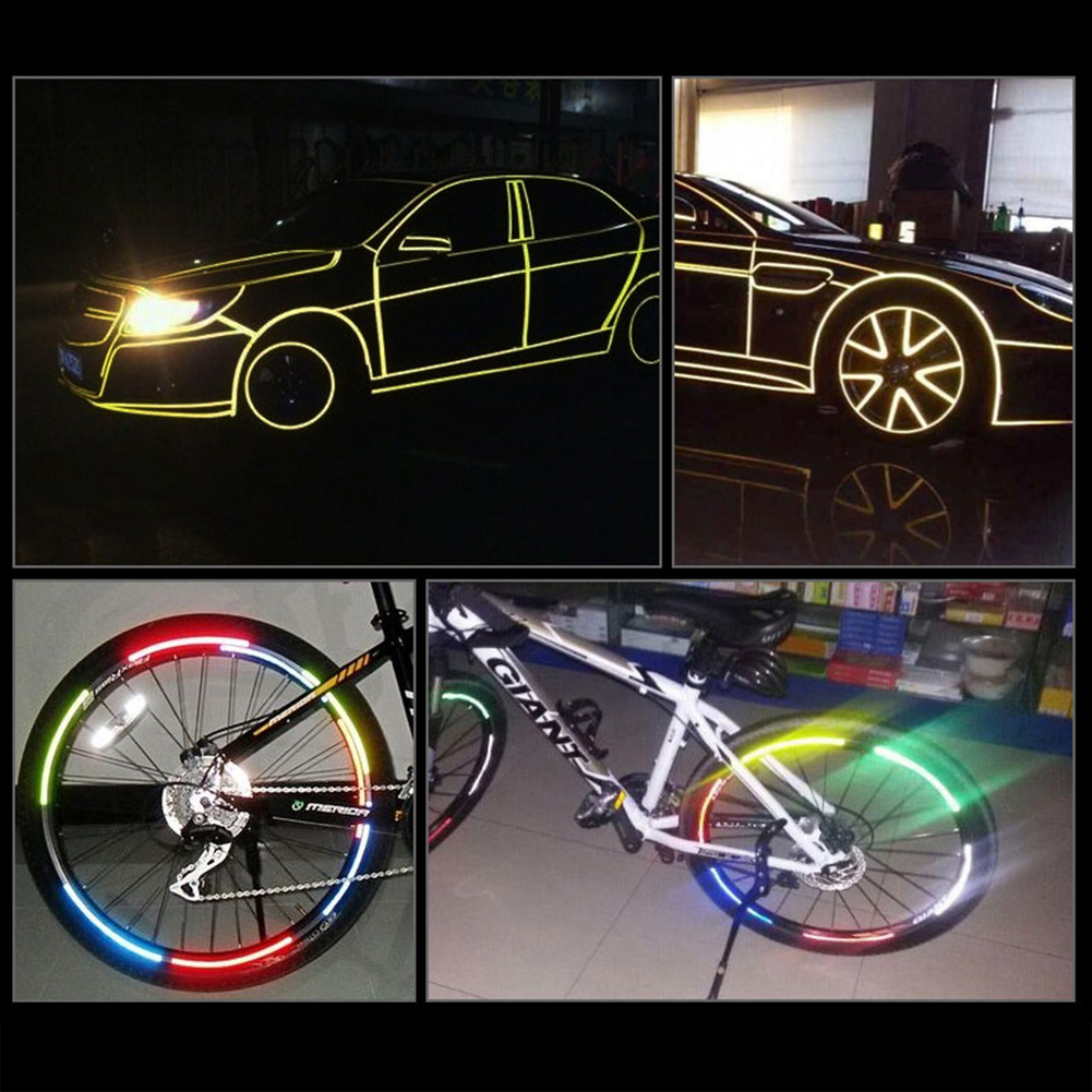 1x Wheel Reflective Sticker Rims Luminous Warning Decals for Car Motorcycle Bike