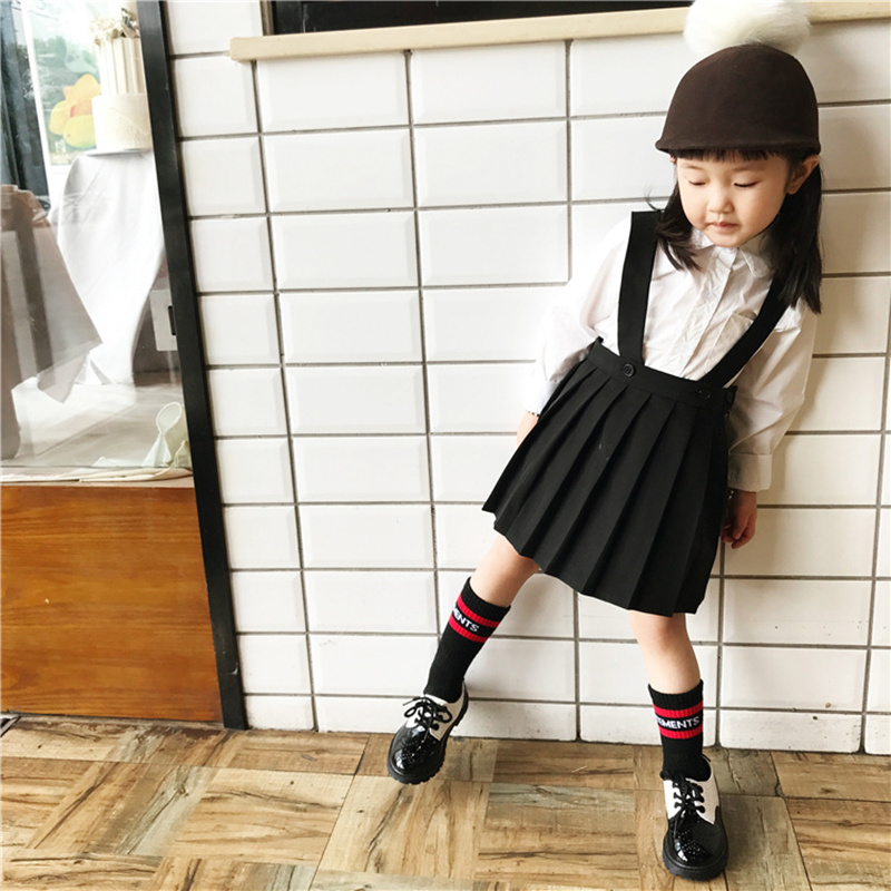 Pre-Sale Autumn Winter Girl Kids White Blouse Tops&Black Pleated Suspender Skirt School Style Clothing for Baby Girl Kids pre sale autumn winter pink gold sequins tops