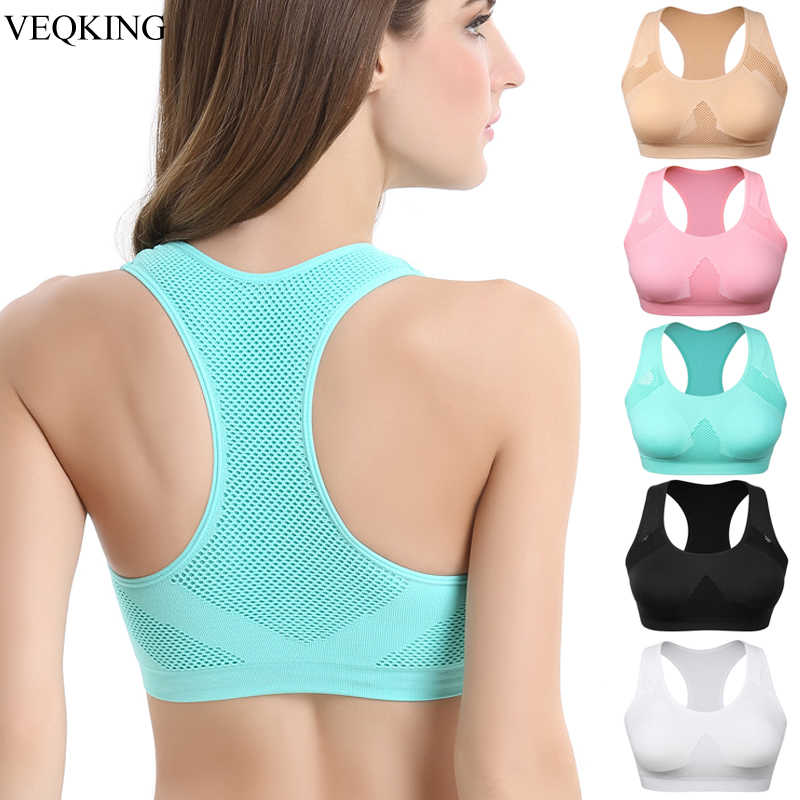 VEQKING Women Breathable Sports Bra,Absorb Sweat Shockproof Padded Sports Bra Top Athletic Gym Running Fitness Yoga Sports Tops