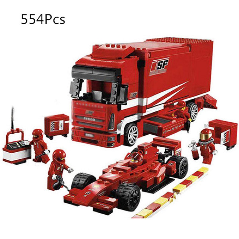 554 pièces Super course voiture F1 camion Automobile transporteur blocs de construction briques pour enfants Compatible Legoings enfance accompagner