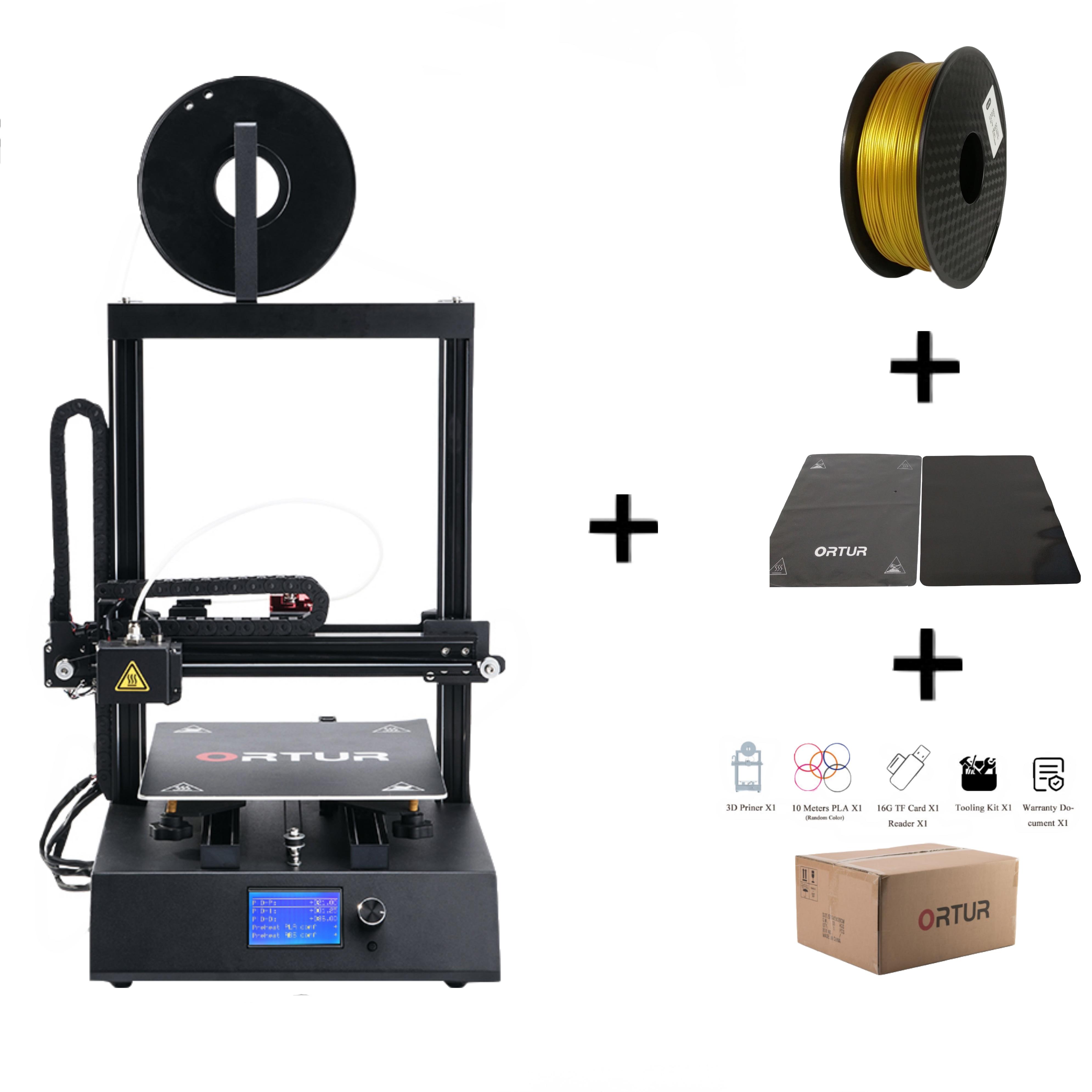 China Mais Novo Ortur 3D Impressora Impressora Dual-eixo Linear Trilho de Guia 3D Removível Chapa De Aço Carbono De Retomar o Poder Falha impressão