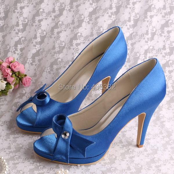 (20 Colors)Custom Color Dropshipping Woman Shoes High Heel Open Toe Blue Satin Bowknow