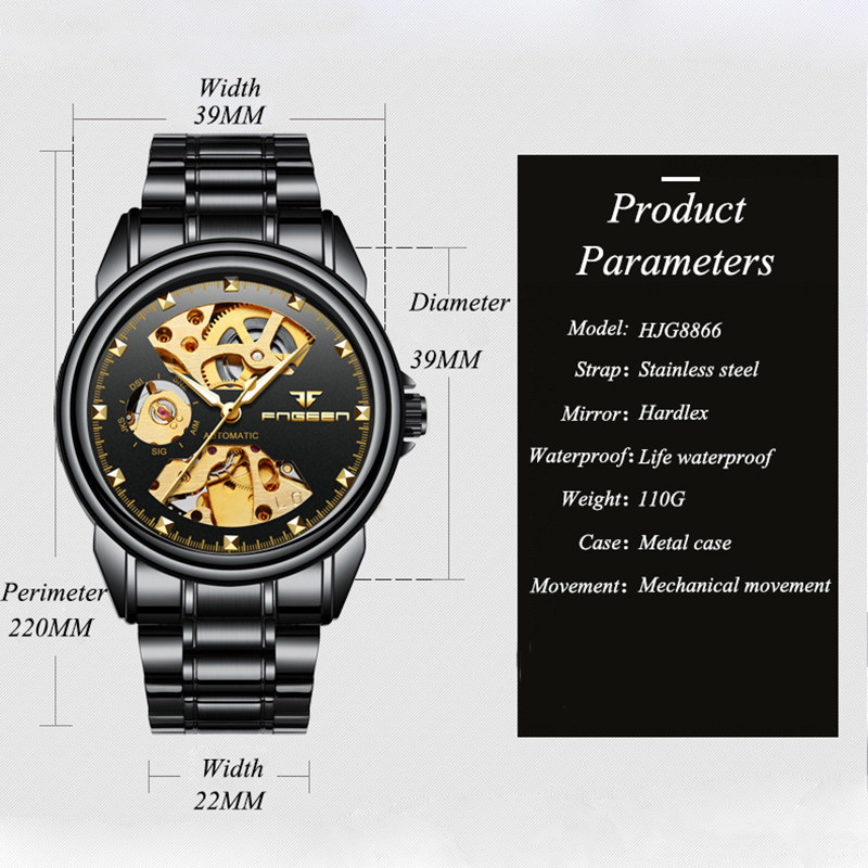 FNGEEN Watch Men Luxury Waterproof Men 39 s Mechanical Self Wind Watches Hollow Perspective Dial Automatic Watch Men Steel Clock in Mechanical Watches from Watches