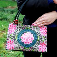 Women's Hand Bag Ethnic Style Embroidered Fashion Handbag Canvas Shoulder Top-Handle Totes Outdoor Personality Floral Women Bags