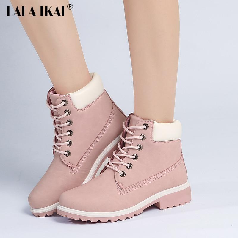 defb3702d07e LALA IKAI 2018 г. розовые женские ботинки из нубука, повседневные ботильоны  на шнуровке, обувь Martin с круглым носком, ботинки timber 040N0882 2.5  купить ...