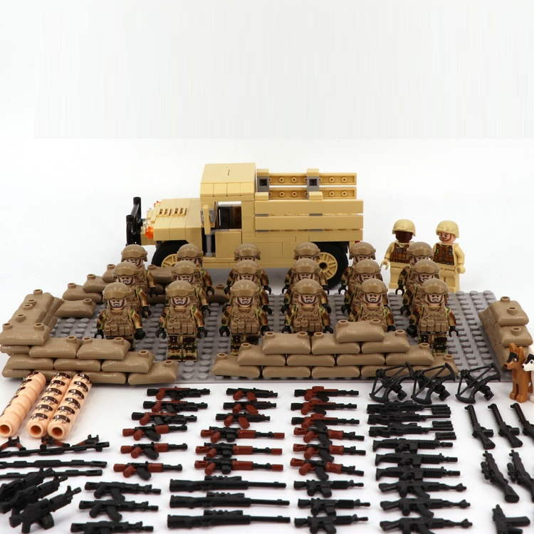 Image 3 - Desert US Special Forces Army military weapon accessories DIY mini figures Building Block Brick original mini figures toys-in Blocks from Toys & Hobbies