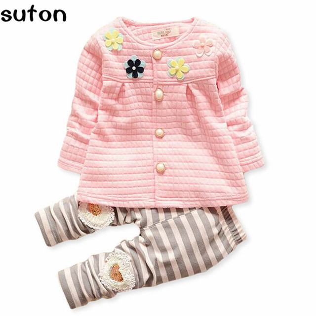 2017 Warm Baby Girls Clothes Set Jacket Leggings Kids Clothing Set Baby Dress Flowers Girls Baby Designers Clothes Girls Infants