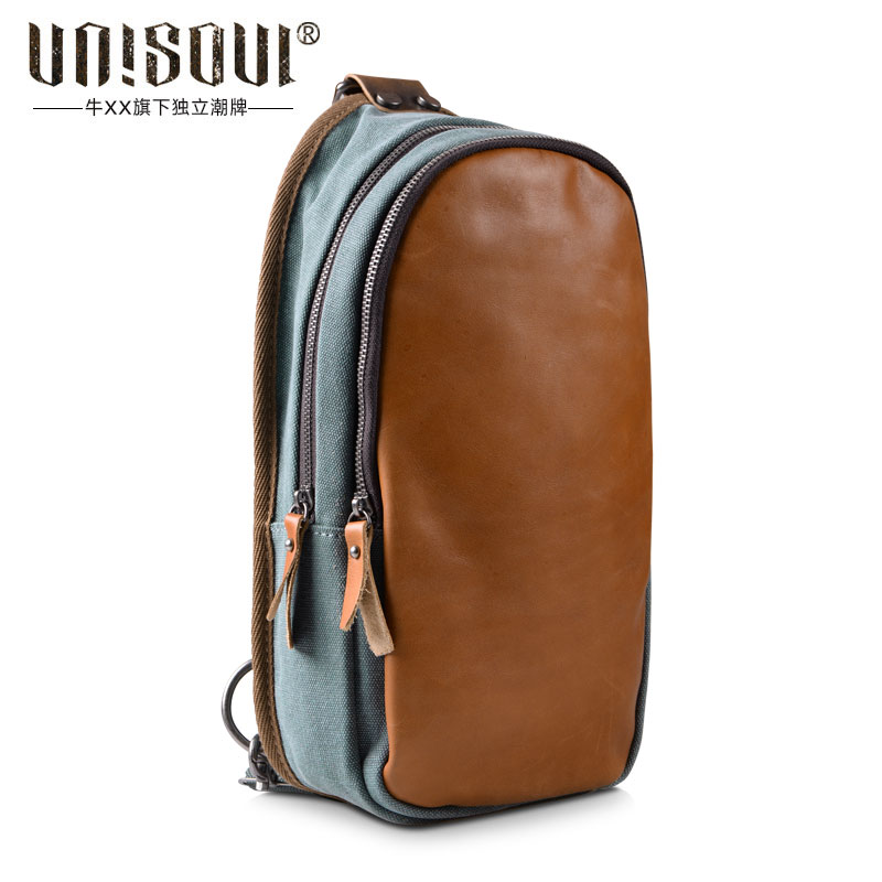 ФОТО UNISOUL Fashion Patchwork Chest bag 2016 Messenger bag Canvas Male Shoulder bag High Quality Vintage mens leather chest packs