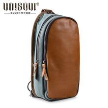 UNISOUL Fashion Patchwork Chest bag 2016 Messenger bag Canvas Male Shoulder bag High Quality Vintage mens leather chest packs