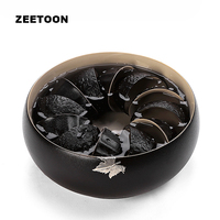 Black Zen Boutique Handmade Inlaid Tin Maple Leaves Coarse Pottery Tea Wash Kung Fu Tea Set